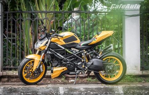 Ducati Streetfighter 848 vàng cuốn hút dưới nắng Hà Nội