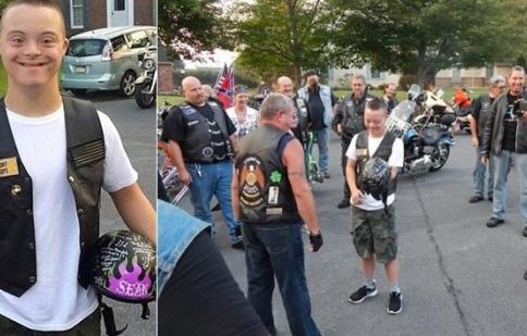 Cậu bé mắc hội chứng down được dàn xe mô tô khủng đưa đến trường